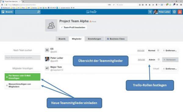 Projektteam über die Team-Seite organisisren